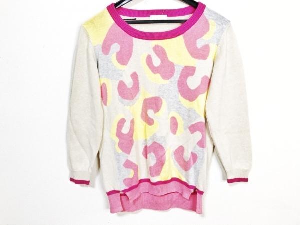 ヴェロフォンナ 七分袖セーター サイズ38 M レディース ベージュ×ピンク×マルチ