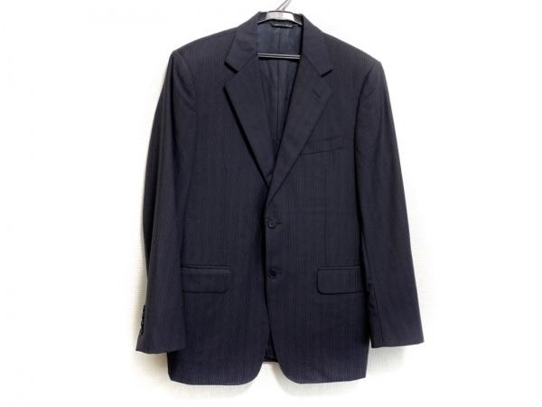 カナーリ ジャケット サイズ467 メンズ美品  ダークネイビー×グレー ストライプ