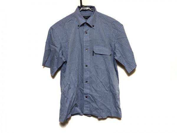 バーバリーロンドン 半袖シャツ サイズS メンズ美品  ライトブルー×ブルー×グレー