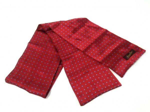 Borsalino(ボルサリーノ) スカーフ美品  レッド×ライトブルー ドット柄/シルク
