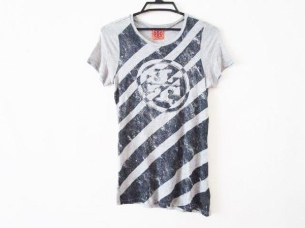 TORY BURCH(トリーバーチ) 半袖Tシャツ サイズXS レディース グレー×ネイビー