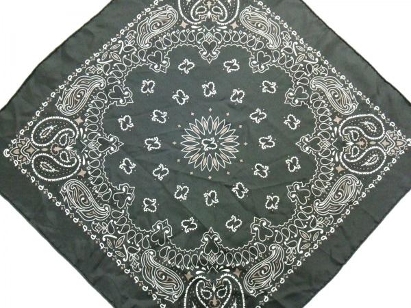 manipuri(マニプリ) スカーフ美品  ダークグレー×白×ベージュ ミニサイズ