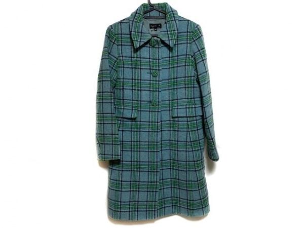 アニエスベー コート サイズ36 S レディース美品  ライトブルー×ネイビー×グリーン