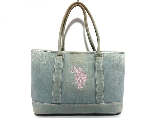 ユーエスポロアソシエーション トートバッグ ライトブルー×ピンク 刺繍 デニム