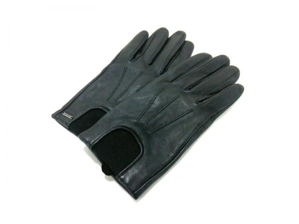 ヒルフィガーデニム 手袋 s-m レディース新品同様  黒 レザー×ナイロン