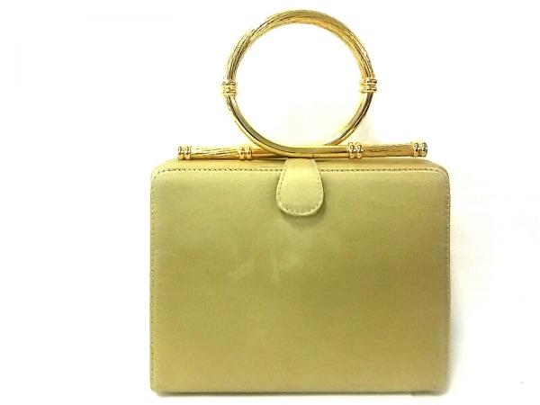RADO(ラドー) ハンドバッグ ベージュ×ゴールド サテン×金属素材
