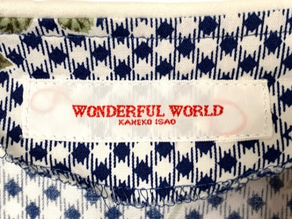 WONDERFUL WORLD(ワンダフルワールド) ワンピース レディース 白×ネイビー×マルチ