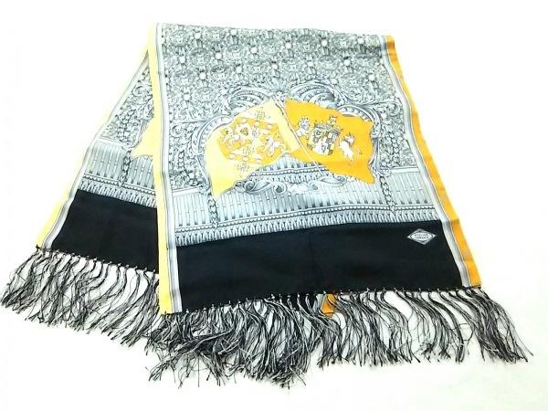 アトリエヴェルサーチ スカーフ美品  グレー×イエロー×マルチ シルク