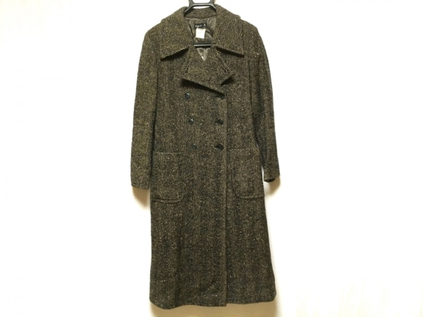 agnes b(アニエスベー) コート サイズ38 M レディース 黒×ダークブラウン 冬物