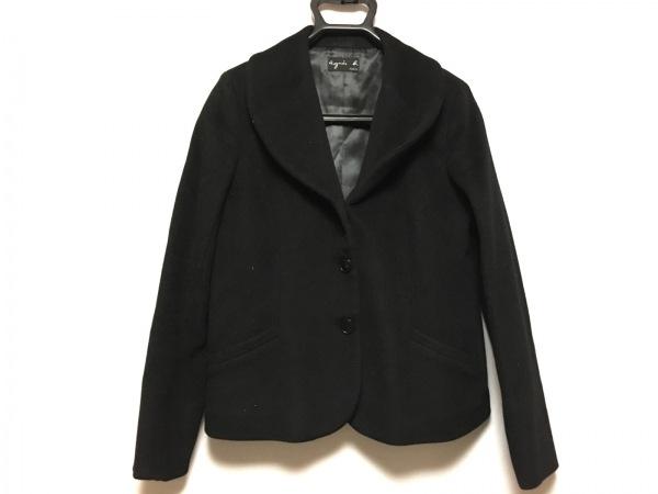 agnes b(アニエスベー) コート サイズ42 L レディース 黒 冬物/ショート丈