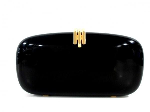 ワコー クラッチバッグ 黒×ゴールド 2WAY/チェーンハンドル プラスチック×金属素材