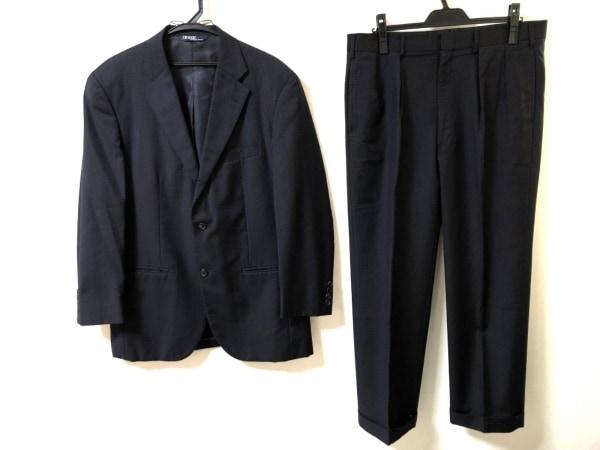 ポロラルフローレン シングルスーツ メンズ美品  ダークネイビー ストライプ