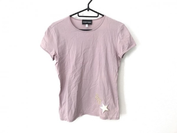 エンポリオアルマーニ 半袖Tシャツ サイズ40 M レディース ピンクベージュ 刺繍