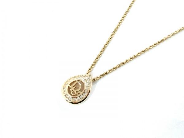 クリスチャンディオール ネックレス美品  金属素材×ラインストーン ゴールド