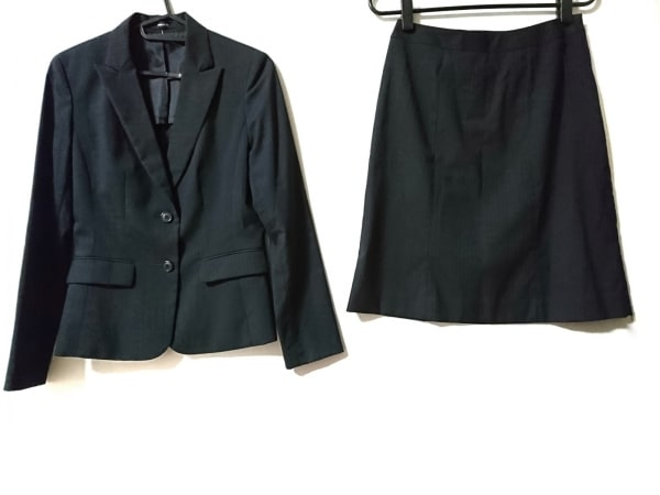 COMME CA ISM(コムサイズム) スカートスーツ レディース美品  黒×ダークブラウン