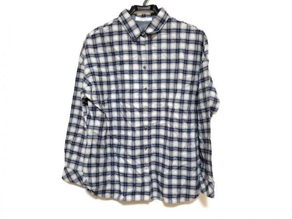 ネミカ 長袖シャツ サイズ11 M レディース美品  ライトグレー×ブルー×ネイビー
