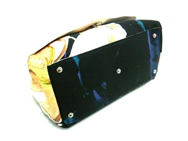 ZANELLATO(ザネラート) ハンドバッグ美品  黒×アイボリー×マルチ 花柄 レザー