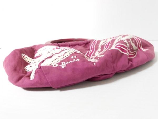 アニエスベー トートバッグ パープル×白 刺繍/ビーズ/voyage コットン×ウッド