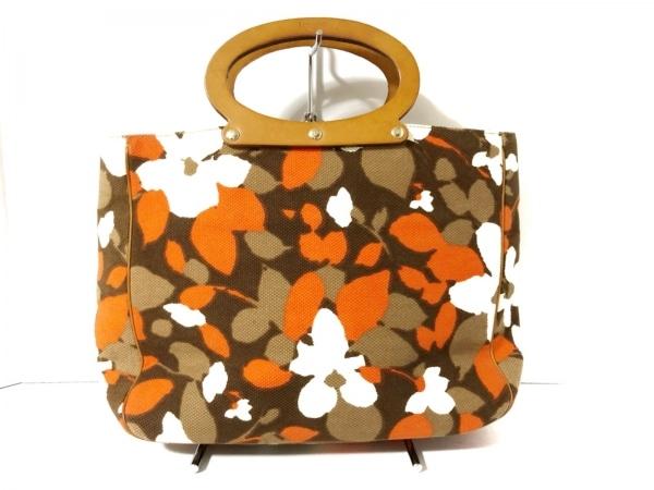 Kate spade(ケイトスペード) トートバッグ ダークブラウン×オレンジ×マルチ 花柄