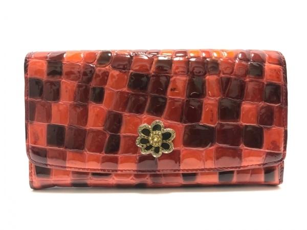 COCCO FIORE(コッコフィオーレ) 長財布 レッド×ボルドー L字ファスナー/型押し加工