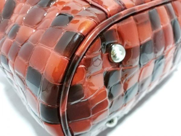 コッコフィオーレ トートバッグ レッド×ボルドー 型押し加工 エナメル(レザー)