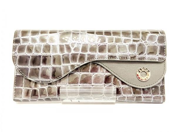 COCCO FIORE(コッコフィオーレ) 長財布 ダークグレー 型押し加工 エナメル(レザー)