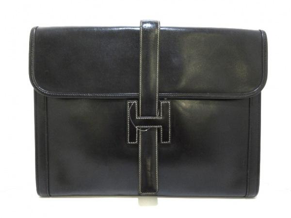HERMES(エルメス) クラッチバッグ ジジェGM ブラック ボックスカーフ