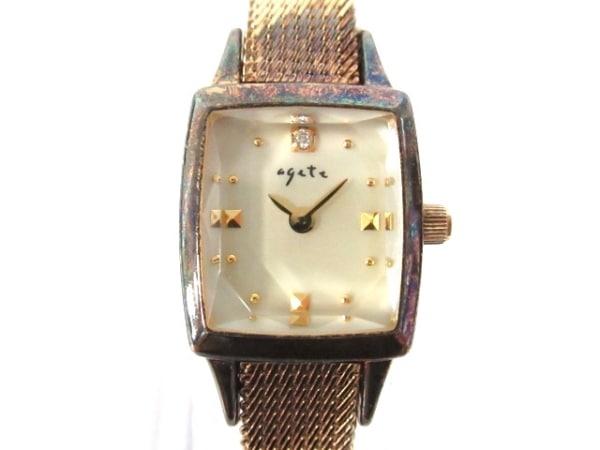 agete(アガット) 腕時計 レディース 1Pダイヤ/0.02Ct アイボリー