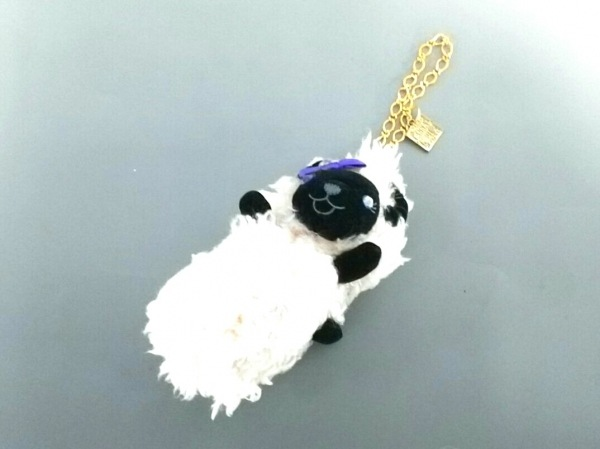ANNA SUI(アナスイ) 小物美品  ベージュ×黒×パープル グローブホルダー 化学繊維
