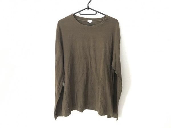 ポールスミス 長袖Tシャツ サイズXL メンズ カーキ×ダークブラウン ボーダー