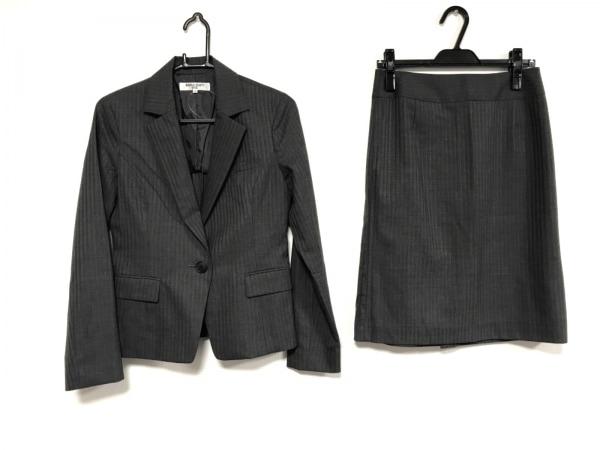 ナチュラルビューティー ベーシック スカートスーツ レディース ダークグレー×白