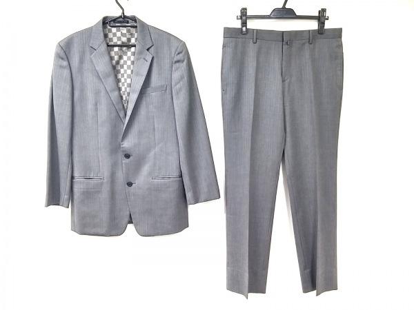 コムサデモードメン シングルスーツ サイズLL メンズ グレー ピンストライプ/肩パッド