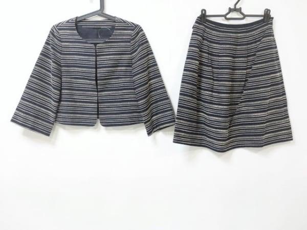 ANAYI(アナイ) スカートスーツ サイズ38 M レディース ネイビー×ベージュ ボーダー