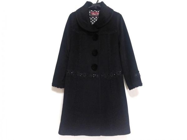 スーパービューティー コート サイズ40 M レディース美品  黒 フラワー/ビジュー/冬物