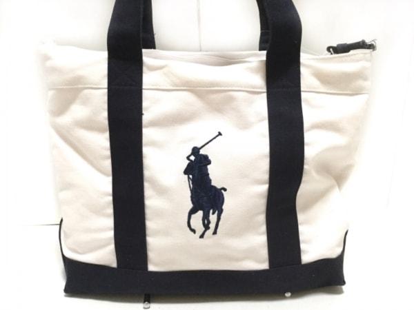 ポロラルフローレン ショルダーバッグ ビッグポニー 白×ダークネイビー 刺繍