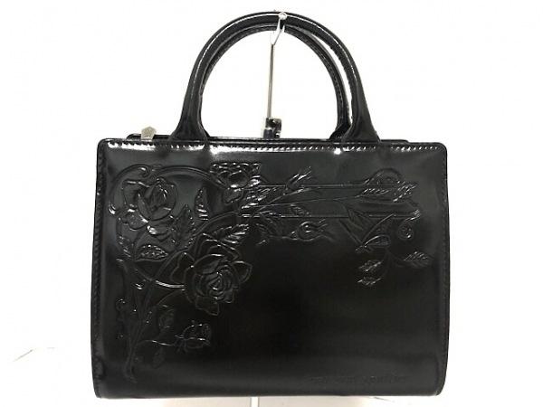 JeanPaulGAULTIER(ゴルチエ) ハンドバッグ美品  黒 型押し加工 レザー