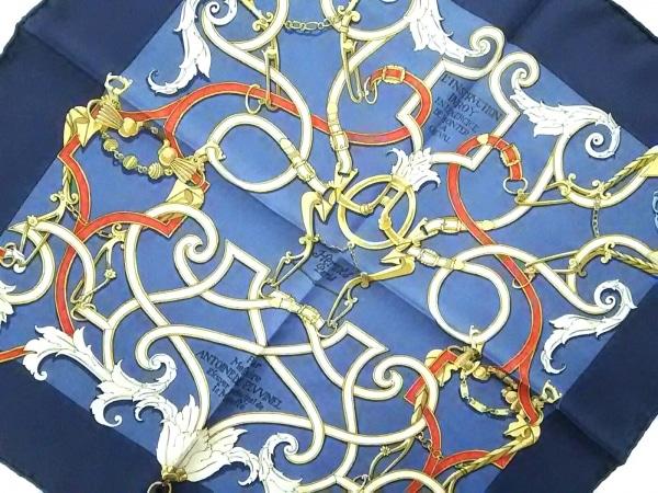 HERMES(エルメス) スカーフ美品  プチカレ ネイビー×マルチ