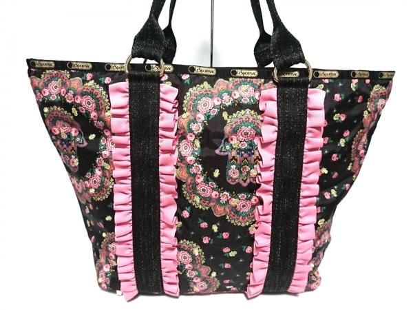 レスポートサック ショルダーバッグ美品  黒×ピンク×マルチ レスポナイロン