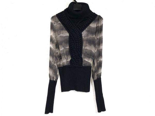 クラスロベルトカヴァリ 長袖セーター サイズ38 M レディース 黒×グレー×アイボリー