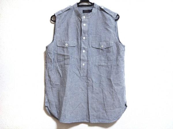 ポロラルフローレン ノースリーブシャツブラウス サイズM レディース美品  ブルー×白