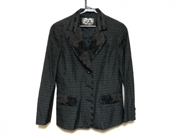 ロッサ ジャケット サイズ42 L レディース美品  ダークグレー×黒×ダークブラウン