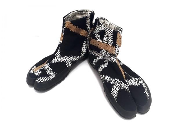SOU・SOU(ソウソウ) 靴 24 レディース 黒×白×ゴールド 足袋 キャンバス