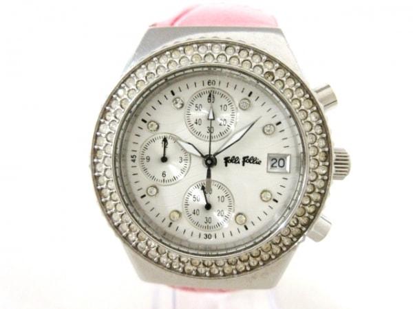 フォリフォリ 腕時計 レディース 革ベルト/クロノグラフ/ラインストーンベゼル