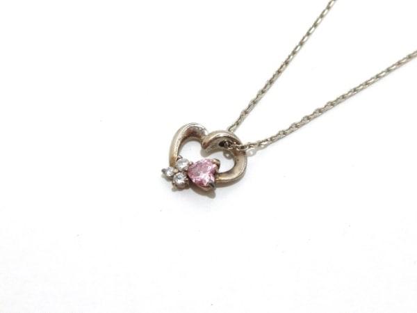 4℃(ヨンドシー) ネックレス美品  シルバー×ジルコニア ピンク×クリア ハート