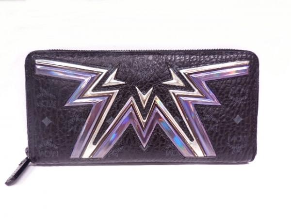 MCM(エムシーエム) 長財布 - - 黒×グレー×パープル ラウンドファスナー