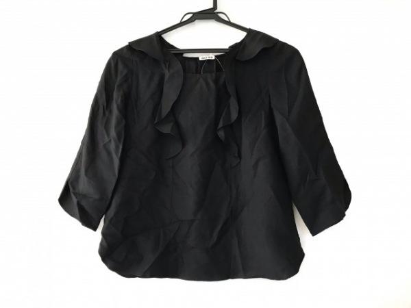 ミュウミュウ 七分袖カットソー サイズ38 S レディース美品  黒 シルク/フリル