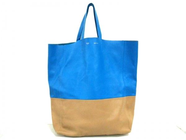 セリーヌ トートバッグ美品  ホリゾンタルカバ ブルー×ライトブラウン バイカラー