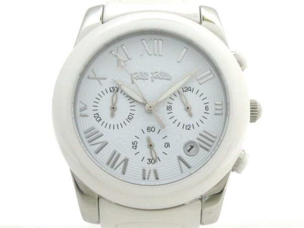 FolliFollie(フォリフォリ) 腕時計美品  WF0T061BE メンズ クロノグラフ 白