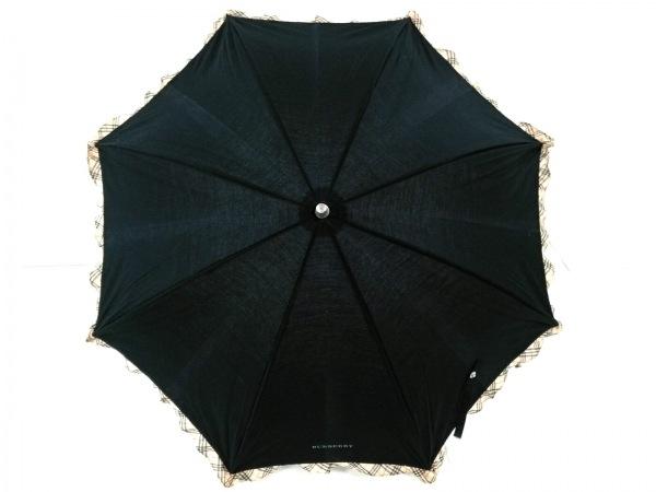 Burberry(バーバリー) 日傘美品  黒×ベージュ×マルチ チェック柄 コットン