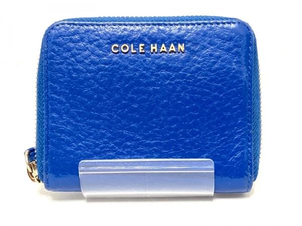 COLE HAAN(コールハーン) 2つ折り財布 ブルー ラウンドファスナー レザー